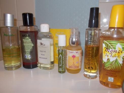 Les huiles de ma salle de bain